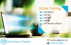 At our company, we provide online training courses that help students launch their coveted careers. We are currently offering courses in SAP HANA, SAP BusinessObjects 4.0,SAP BusinessObjects DataServices,SAP Businesswarehouse BI/BW, Cloud Computing. Our SAP HANA course is 35 to 40 hours with system access and hands on exercises. Our trainers are well experienced within their industry and as well as training students.#Enquiry http://www.vteaminc.com/
