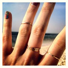 Pretty Girl Gold Stacking Rings  Set of Five 14K by delialangan, $60.00