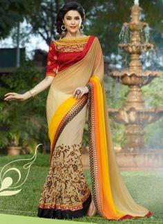 Girlish Cream And Yellow Shaded Soft Net Embroidery Border Work Saree #saree #sarees #sari #weddingsarees #bridalsaree #desingersaree  http://www.angelnx.com/Sarees/Wedding-Sarees