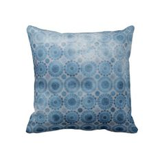 KRW Faded Vintage Blue Hippie Floral Pillow