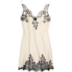 Carine Gilson Egérie silk-satin chemise (2,520 HKD) ❤ liked on Polyvore featuring intimates, chemises, lingerie, underwear, pajamas, dresses, chemise lingerie, lingerie chemise, lingerie slips and carine gilson