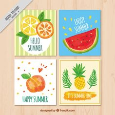Summer cards with fruits, watercolor Free Vector Easy Canvas Painting, Summer Painting, Diy Painting, Watercolor Brush Pen, Watercolor Cards, Hobbies And Crafts, Diy And Crafts, Fruit Logo, Cute Journals