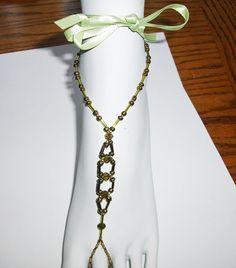 Pretty barefoot sandals w/ bugle beads