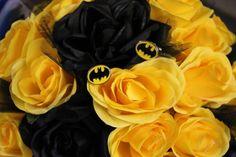 Batman bouquet and cufflinks