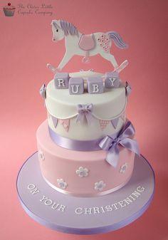 Rocking Horse Christening Cake or Baby Shower cake Torta Baby Shower, Fancy Cakes, Cute Cakes, Christening Cake Girls, Baptism Cakes, Horse Cake, Communion Cakes, Cake Decorating Supplies, Sugar Cake