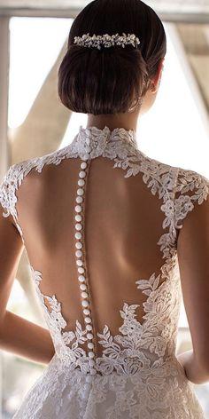 27 Stunning Trend: Tattoo Effect Wedding Dresses ❤  tattoo effect wedding dresses with buttons illusion back lace pronovias #weddingforward #wedding #bride Bridal Gowns, Wedding Gowns, Lace Wedding, Wedding Dress Sleeves, Trending Now, Wedding Trends, Stylish, Tattoos, Backless