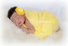gorgeous yellow flower headband and matching by pinkladybuggirl, $12.00