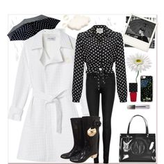 #Spring14 #rainday by paulette833 on Polyvore featuring Walk of Shame, J Brand, Chanel, Armani Jeans, Saks Fifth Avenue Collection, Casetify, Burberry, Gucci and Polaroid