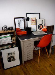 Sneak Peek: Rion Nakaya. My desk, Vintage Typists Desk from Belgium with Eames Chair. Hackney, London.