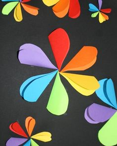 color wheel flowers with heart petals.  For valentine's day or just to study the color wheel.