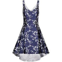 **Chi Chi London Dip hem bardot dress ($89) ❤ liked on Polyvore featuring dresses, blue, blue flower print dress, blue hi lo dress, hi low dress, flower print dress and blue dress