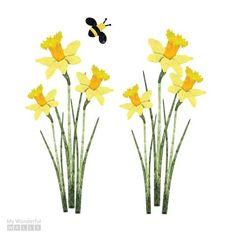 Daffodils and Bee Wall Sticker Set