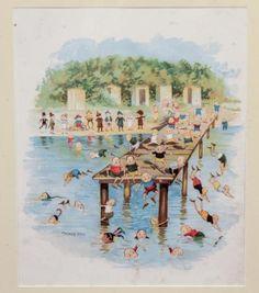 Original-19c-Palmer-Cox-Brownie-Chromolithograph-Print-Summer-Fun-Swimming-Hole