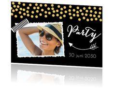 Uitnodigingskaart confetti eigen foto