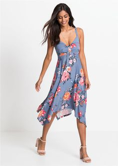 727419dd21 Asszimetrikus ruha • matt kék/virágmintás • bonprix áruház