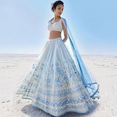 Anita Dongre is launching her Summer 2019 Collection and this one… Seen this yet? Anita Dongre is. Anita Dongre, Indian Gowns Dresses, Indian Fashion Dresses, Indian Fashion Designers, Indian Designer Outfits, Indian Lehenga, Lehenga Choli, Sari, Blue Lehenga