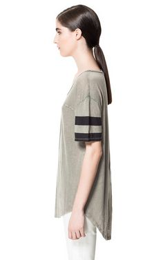STRIPED SLEEVE T - SHIRT - T - shirts - Woman | ZARA United States