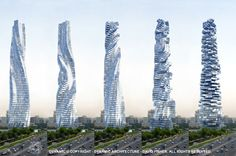 Dynamic Architecture.com - David Fisher has designed some amazing structures! This one will rotate around a sold base, as he calls it, in the 4th dimension of 'time.' All floors rotate independently! To be built in United Arab Emirates (UAE)