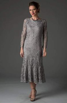 Soulmates - D1423 Tea Length Dress – Couture Candy Lace Tea Length Dress, Tea Length Dresses, Formal Dresses, Older Bride Dresses, Mother Of The Bride Suits, Mom Dress, Gowns Online, Designer Gowns, Couture Dresses