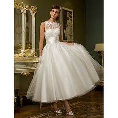 Lan Ting A-line/Princess Plus Sizes Wedding Dress - Ivory Ankle-length Jewel Tulle – EUR € 78.39