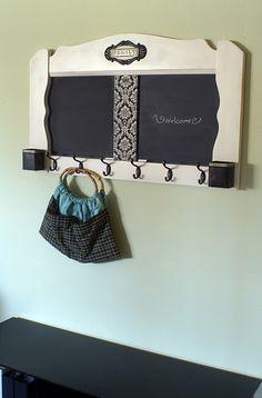 repurposed headboard as entry coat rack (for under $20!)