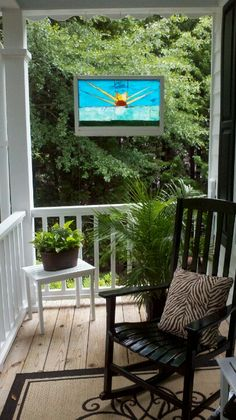 Back porch on pinterest porches back porches and front for Stained front porch