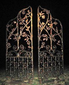 Greg Leavitt Pennsylvania blacksmith - I live down the road from his studio! Old Gates, Into The Fire, Wrought Iron Gates, Old Doors, Garden Gates, Blacksmithing, Metal Art, Metal Working, Decoration
