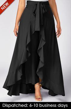 Tie Waist Side Zipper Ruffle Palazzo Pants (in black & gray) Skirt Pants, Dress Skirt, Ruffle Pants, Ruffle Skirt, Skirt Pleated, Chiffon Skirt, Denim Pants, Chiffon Fabric, Asymmetrical Skirt