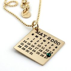 Gold Filled Mark Your Calendar Necklace by Punky Jane #CalendarNecklace #MarkYourCalendar