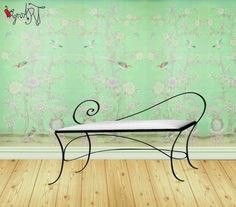 Banco de forja artesanal Iron Furniture, Steel Furniture, Deco Furniture, Furniture Upholstery, Unique Furniture, Custom Furniture, Furniture Design, Wrought Iron Bench, Wrought Iron Decor