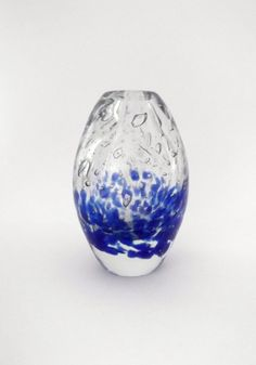 Skrdlovice Jaroslav Svoboda 6970 -- bubbly blue and clear egg vase -- Czech art glass