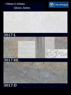 Stylish #designs, innovative tiles.  Glossy Wall Tile Series 3017 - Millennium Tiles 250x750mm (10x30) Digital Ceramic Glossy Wall #Tiles Series - 3017_L - 3017_HL - 3017_D  #tiledesign #walltiles