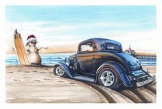 Wacky Hot Rod Cards   ... about Paul Oxman Christmas Greeting Cards Snowman Hot Rod Set of 10