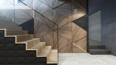 modern staircase with wooden deco wooden panel -
