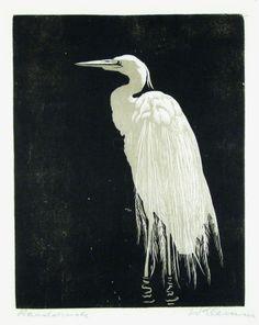 """✨  Walther Klemm (1883-1957) - Silberreiher, zwischen 1903 und 1910, Farbholzschnitt, 24,9 x 19,6 cm. Signiert und als """"Handdruck"""" bezeichnet ::: Great White Heron, Colour Woodcut"""
