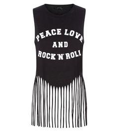 Black Peace Love Fringed Hem Top