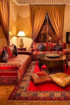What We Love: Moroccan mint tea by the fire. Hotel Riad Kniza (Marrakech, Morocco) - Jetsetter Home Moroccan Living Room, Indian Home Decor, Interior, Living Room Red, Indian Living Rooms, Living Room Decor, Room Decor, Bedroom Decor, Interior Design