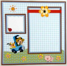 mickey mouse scrapbook | Mickey Mouse Farming Premade Scrapbook Pages 8 X 8 Paper Piecing
