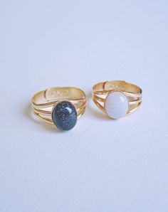 Sky Night or Day Gemstone Rings — Eclectic Eccentricity Vintage Jewellery
