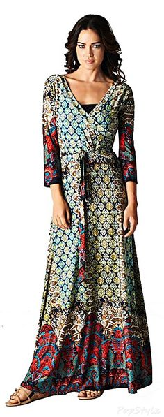 Bohemian 3/4 Sleeve Maxi Dress