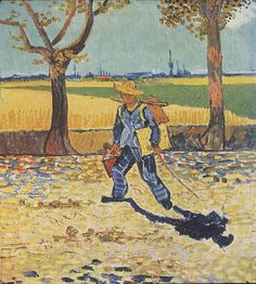 Painter on the Road to Tarascon, August 1888, Vincent van Gogh on the road to Montmajour. Formerly Museum Magdeburg, believed destroyed by fire in World War II