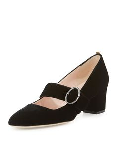 Rock a pair of black mary janes with bare legs.