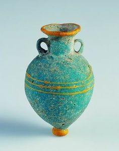Amphoriskos   Eastern Mediterranean   6th-5th century BC   Turquoise-blue glass, core-formed