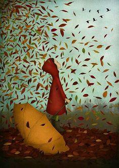Whimsical seasonal children's art illustration Autumn Magic by Maja Lindberg Illustrations, Art And Illustration, Autumn Art, Autumn Leaves, Autumn Painting, Long Painting, Whimsical Art, Happy Fall, Fall Halloween