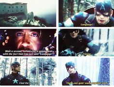 """""""Language!"""" - Cap. America and Iron Man #Avengers: #AgeOfUltron ((I loved this. It was hilarious))"""