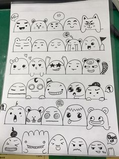 dibujos kawaii dibujos de arte doodle dibujo de doodle dibujos lindos fácil * kawaii zeichnungen doodle art zeichnungen do… in 2020 Cute Doodle Art, Doodle Art Drawing, Doodle Sketch, Kawaii Faces, Cute Kawaii Drawings, Kawaii Doodles, Kawaii Art, Emoji Drawings, Easy Drawings