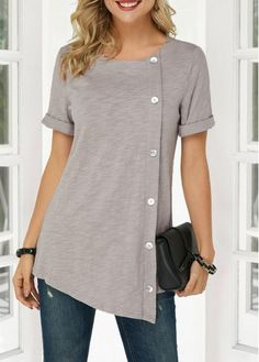 Cute Tunic Tops For Women Asymmetric Hem Round Neck Button Detail Denim Blouse Stylish Tops For Girls, Trendy Tops For Women, T Shirts For Women, Mode Outfits, Fashion Outfits, Fashion Shoes, Denim Blouse, Grey Blouse, Trendy Fashion