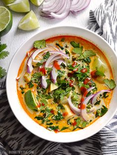 Thai Curry Vegetable Soup packed with vegetables, spicy Thai flavor, and creamy coconut milk.