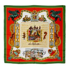 """Hermes """"Salzburg"""" Silk Scarf   From a collection of rare vintage scarves at https://www.1stdibs.com/fashion/accessories/scarves/"""
