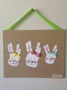Easter bunny hand burlap craft